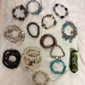 Jewelry - Bundle of 20 Elastic Beaded Bracelets Various